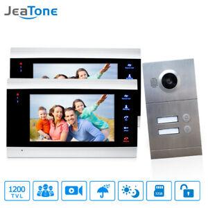 """Jeatone 2 Apartments 7"""" Video Door Phone Intercom Doorbell System Touch Screen"""