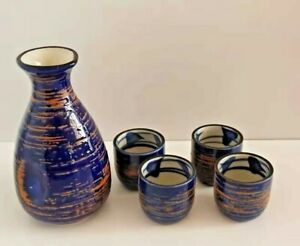 Japanese Sake Set with 4 Cups Large 250ml - LK003 Blue and Brown Design