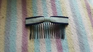 New Cute Korean Style Green Grid & Blue Bow Hair Comb Slides / Hair Accessory