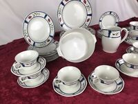 Vintage 70s Adams Lancaster Iron Wear Dinnerware Set For 8. no  Chips! Perfect!