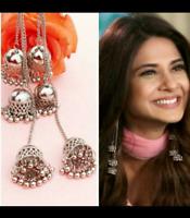 Indian Traditional Bollywood Silver Tone Oxidized Mugal Jhumka Jhumki Earrings 9
