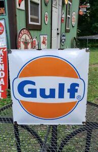 GULF gasoline porcelain metal sign enamel gas pump plate motor oil garage