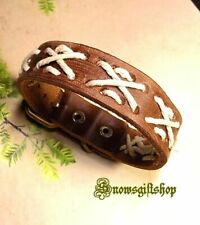 Men's Handmade Hemp Woven Fashion Surfer Biker Characters Leather Wristband