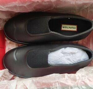Ladies Hunter Original Gum Plimsole Black Plimsolls Flat Garden Rain Shoes, UK 3
