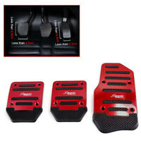 3x Foot Pedal Cover Vehicle Accelerator Manual Red  Brake Non-slip Car Accessory