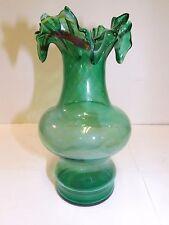 HAND BLOWN ART DECO GLASS GREEN WHITE YELLOW BURGUNDY RUFFLE VASE