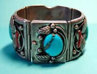 Vintage Sterling Silver Al Charley Navajo Turquoise Coral Watch Cuff Bracelet