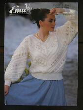 "Emu Knitting Pattern: Ladies V Neck Sweater, DK, 32-36"", 4100"