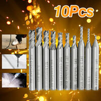 10pcs/set 1.5-6mm HSS CNC Straight Shank 4 Flute End Mill Cutter Drill Bit Tool