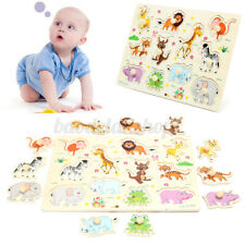 Wooden Zoo Animal Puzzle Jigasw Toy Children Kids Baby Educational Learning Gift
