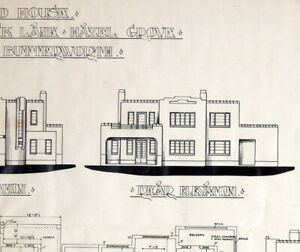 Vintage Architects Drawing Plan Art Deco House 1930s Stockport Design Sketch