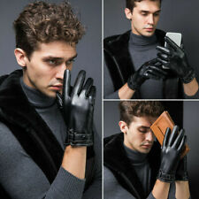Men's Fleece Thermal Leather Gloves Winter Warm Touch Screen Driving Gloves