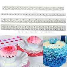 4Pcs Flower Embosser Cutter Straight Frill Fondant Sugar Craft Cake Frilling