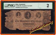 JC&C -RARE- 1850s-60s $3 The Sandusky City Bank , State of Ohio - Fair 2 by PMG