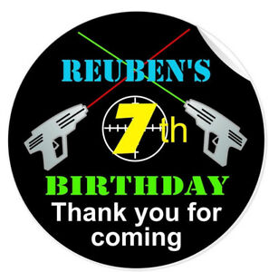 Personalised Laser Tag Quest Game Party Birthday Party Stickers Thank You Labels