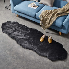 Ashler Soft Faux Sheepskin Fur Chair Couch Cover Black Area Rug For Bedroom Sofa