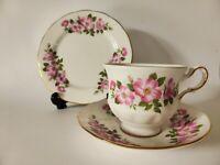 Queen Anne Vintage Bone China Teacup Trio, Pink Floral, Tea Cup, Saucer + Plate