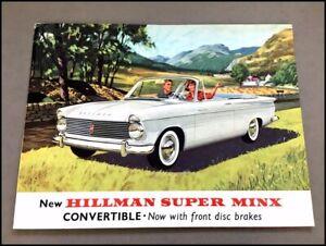 1963 1964 Hillman Super Minx Convertible Vintage Car Sales Brochure Folder