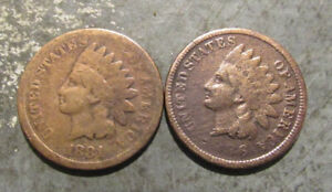 1881 1886 Indian Head Pennies
