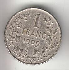 BELGIUM SILVER 1 FRANC 1909          143J      BY COINMOUNTAIN