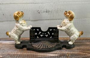 """Vintage White Dogs Cast Iron Business Card Holder 11.5"""" x 5.5"""""""