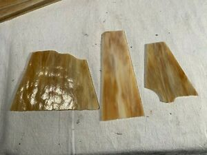 3 Vintage Amber Slag Stained Glass & Slag Lamp Panel Pieces