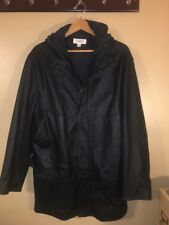 Italian Rare calvin klein Men leather coat Hooded Made In Italy 100% Leather