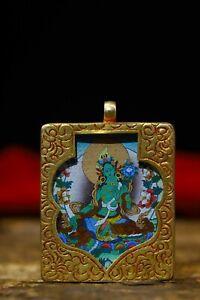 Tibetan silver Gilt Green Tara Kwan-Yin GuanYin Statue Amulet periapt Pendant