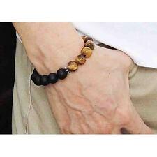 Handmade 10MM Matte Black Onyx Tiger Eye Beads Lucky Energy Bracelet for Men New