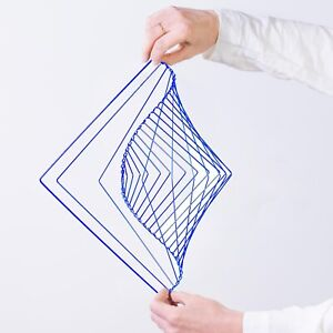 Square Wave Electric Blue by Ivan Black. Made in Italy Kinetic Sculpture