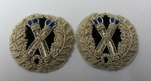 Genuine Obsolete British Police Silver Braided Tip Staff Collar Patches ASPS442