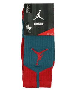 JORDAN AJ Dri-FIT Basketball Crew Socks sz M Medium (6-8) Dark Sea Gym Red