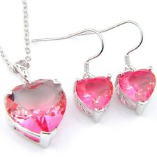 Mother's Day 2PCS Charming Bi-Colored Tourmaline Gems Silver Pendant Earrings