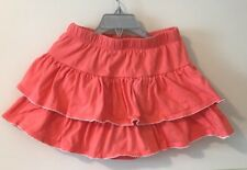 Gymboree Coral Orange Flared Tiered Cotton Skort Skirt Under Shorts 6 Elastic