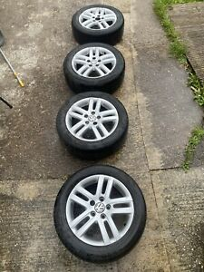 VW Golf Alloys 16 Inch With Tyres * Mk6 Mk5 5x112 Fit Audi Seat Touran A3 Caddy