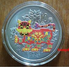 2010 lunar animal tiger colored 1oz silver coin w/COA & box