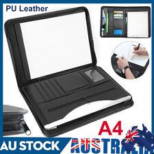 A4 ZIPPED Conference Folder Business Faux Leather Document Case Bag Portfolio #
