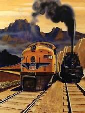 Motor Diesel de vapor de vía ferrocarril Tren Paisaje EE. UU. impresión de arte poster CC2267