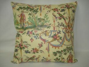 """Yellow Vintage French Toile Accent Decorative Pillow Cover 14""""x14"""""""
