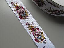 Sugar Skull White Grosgrain Ribbon 2.2cm  x 1 Metre Sewing/HalloweenCrafts/Cake