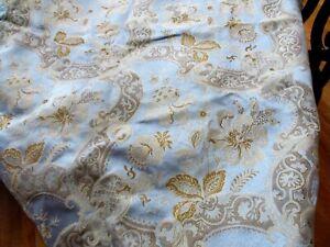 Vintage CROSCILL Drapes - Damask Blue with Gold Design/Fringe/Tassels