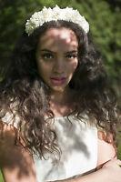 Ivory White Cream Rose Flower Hair Crown Headband Garland Small Festival Vtg W08