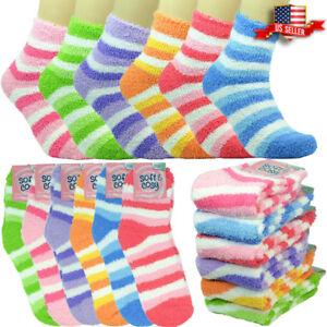 6 Pairs Womens Soft Cozy Fuzzy Winter Warm Striped Slipper Crew Socks Size 9-11