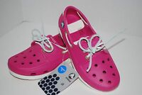 NWT CROCS BEACH LINE BOAT SHOES KIDS NAVY / PINK PINK / WHITE 1 2 3 4 5 6 junior