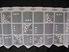 m/€ 10,37 Scheibengardine Gardine Bistrogardine 241125 braun türkis 49 cm hoch