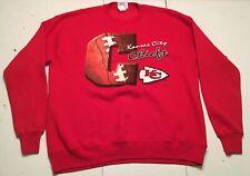 VTG 1993 KANSAS CITY CHIEFS Red Nutmeg Mills Crew Neck Sweatshirt M EUC USA MADE