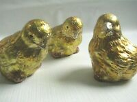 Bethany Lowe Easter 3 Foil Covered Chicks Vintage Style Yellow Figurines Spring
