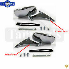 70-72 Chrome Rectangular Rear View Door Side Mirror RIBBED Base w/Hdw L=R PAIR
