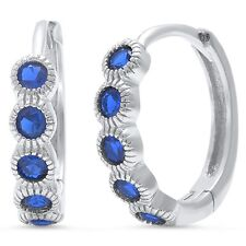 Blue Sapphire round Hoop .925 Sterling Silver Earring