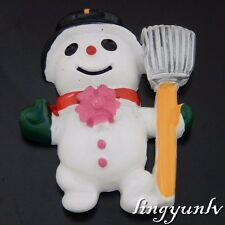 50627 Colorful Tone Resin Christmas Snowman Decoration Findings Crafts 8pcs